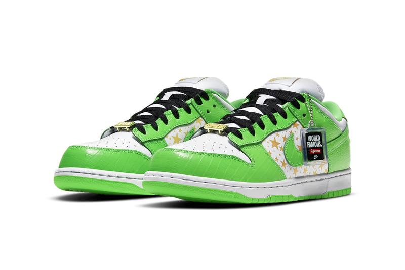 supreme nike sb dunk low collaboration sneakers mean green white black stars colorway sneakerhead shoes footwear laces tag