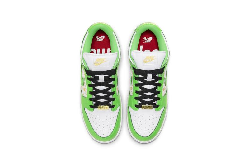 supreme nike sb dunk low collaboration sneakers mean green white black stars colorway sneakerhead shoes footwear insole laces