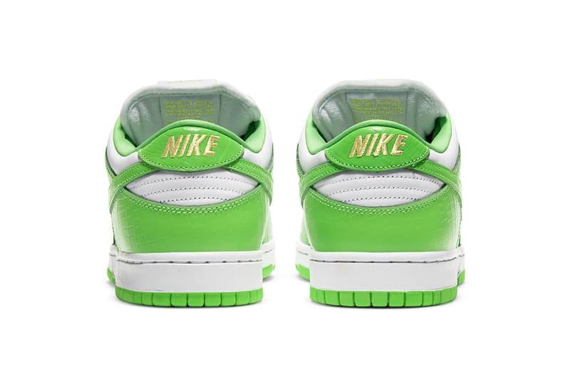 supreme nike sb dunk low collaboration sneakers mean green white black stars colorway sneakerhead shoes footwear heel