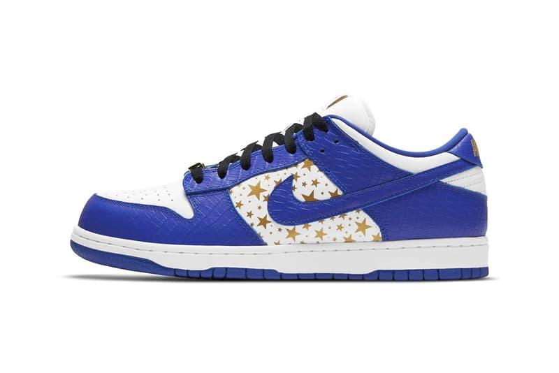 Supreme x Nike SB Dunk Low Hyper Blue Gold Stars White