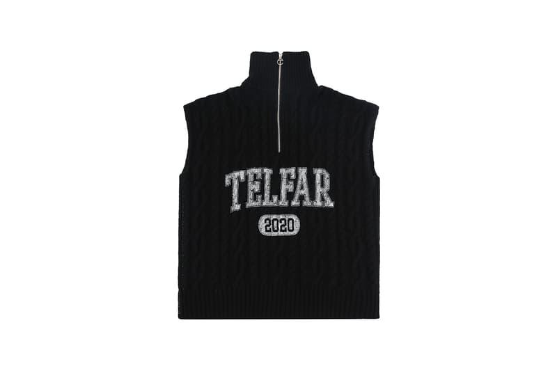 telfar cable knit knitwear sideless sweater winter apparel black white