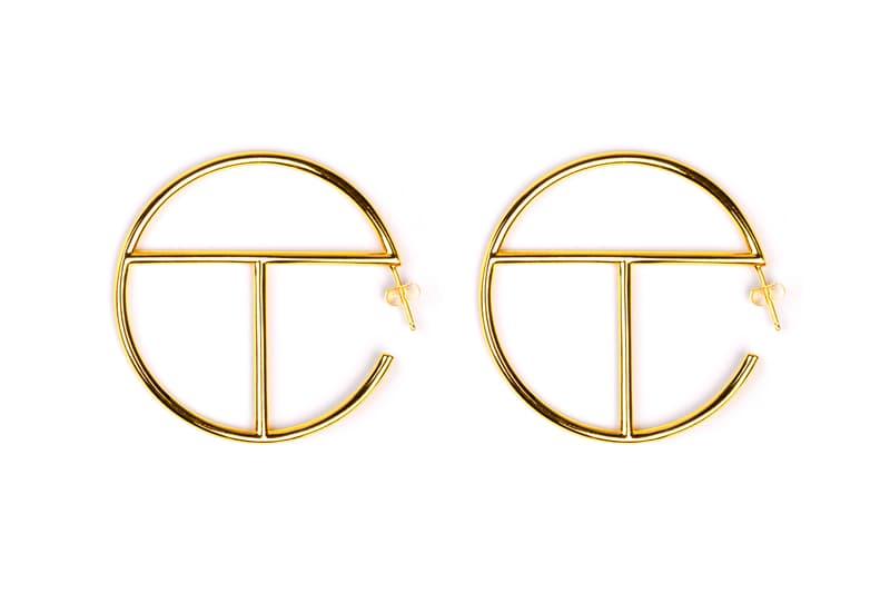 Telfar Logo Hoop Earrings Gold Silver Medium