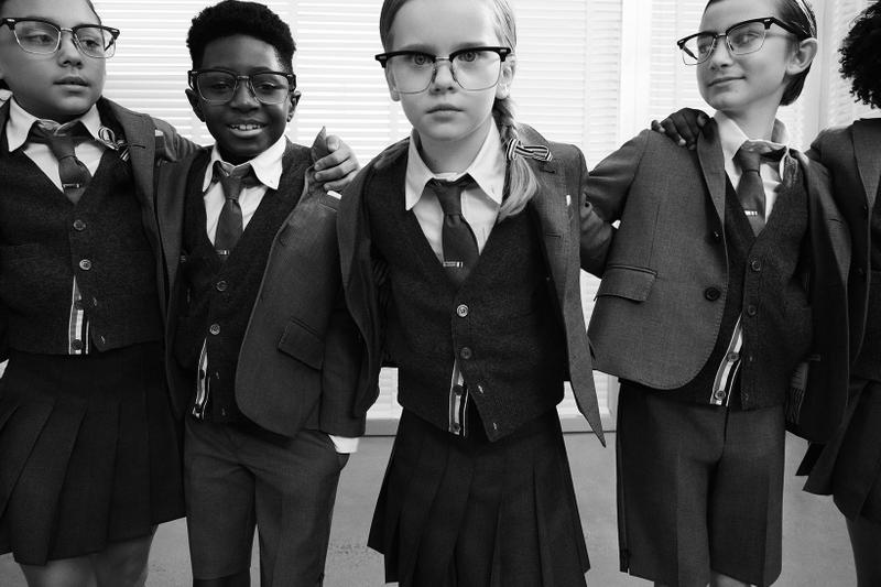 thom browne childrenswear kids line launch campaign school uniform blazers jackets pleated skirts group students glasses friends