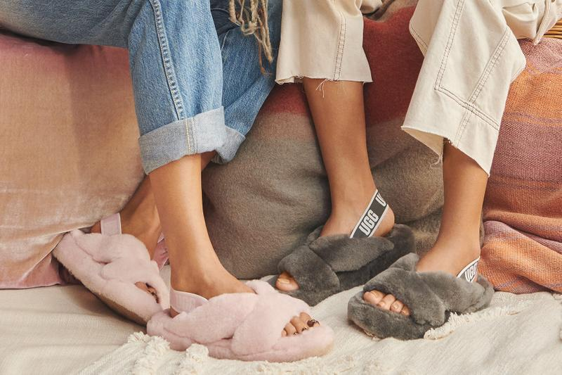 ugg spring summer collection campaign fluff yeah sandals slides pink gray