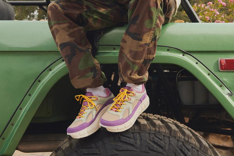 ugg spring summer collection campaign sneakers westsider low purple green camo pants