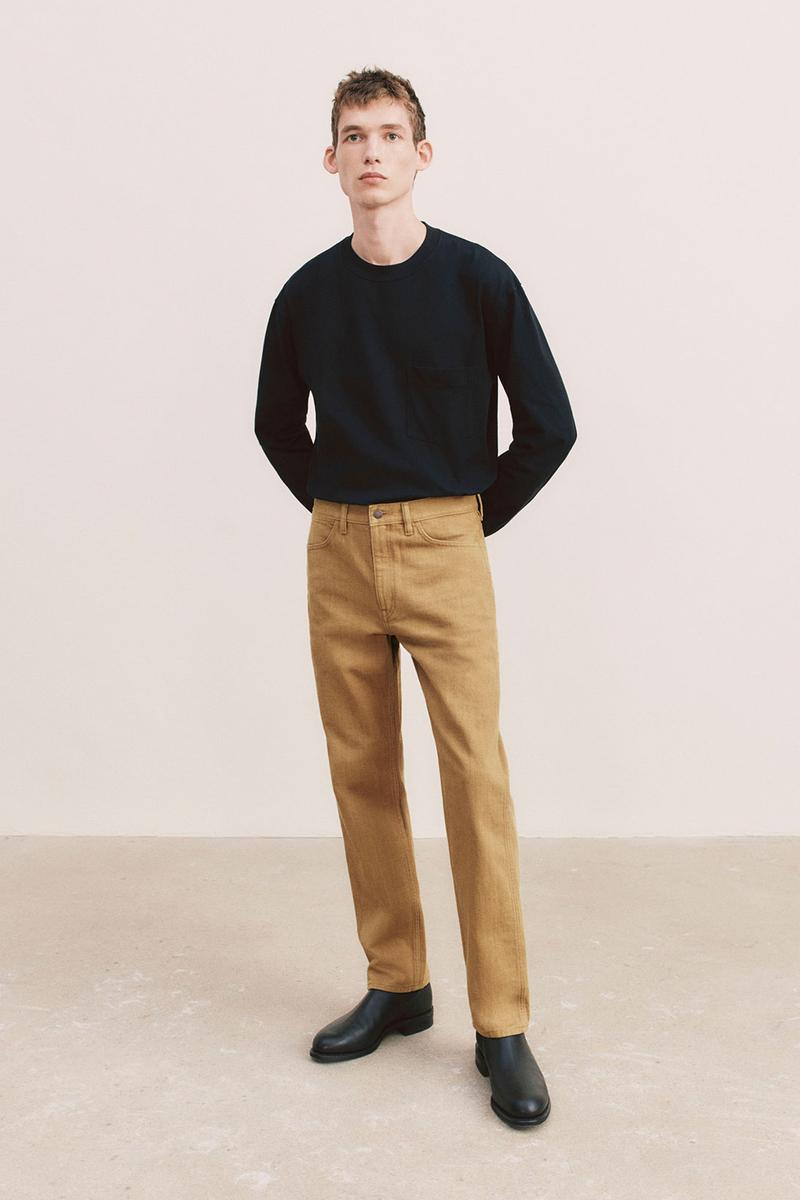 uniqlo u spring summer collection black sweater brown pants shoes