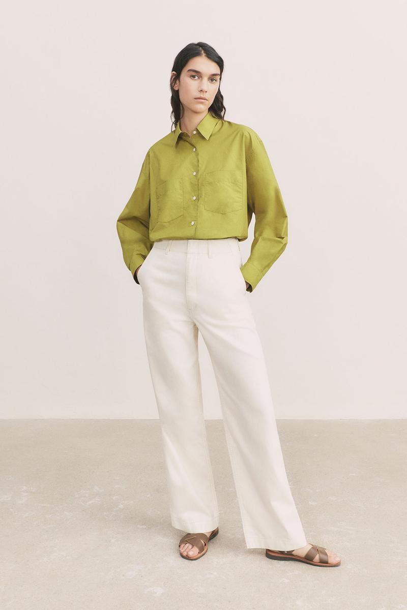 uniqlo u spring summer collection green sweater white pants sandals