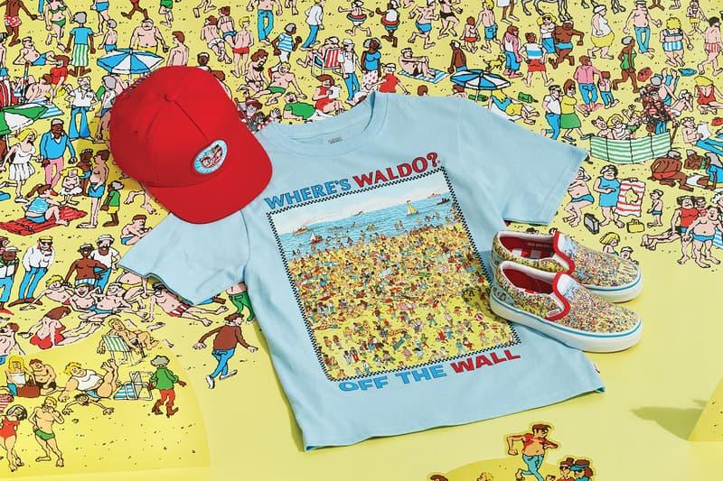 vans wheres waldo wally collaboration slip on sneaker blue t-shirt red cap