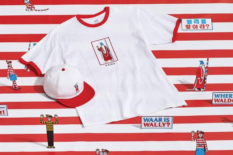 vans wheres waldo wally collaboration white t-shirt cap red