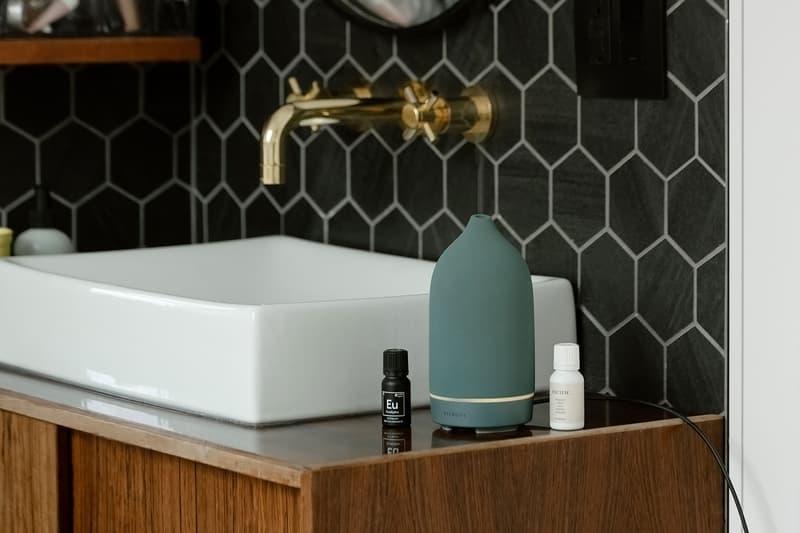 vitruvi stone diffusers essential oils sea teal green homeware decor bathroom sink