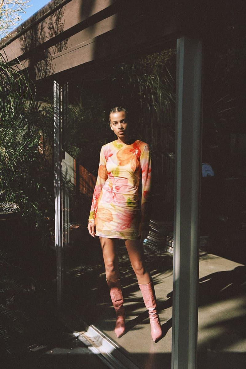 with jean stratosphere drop 2 spring summer lookbook floral print dress sheer pink orange yellow