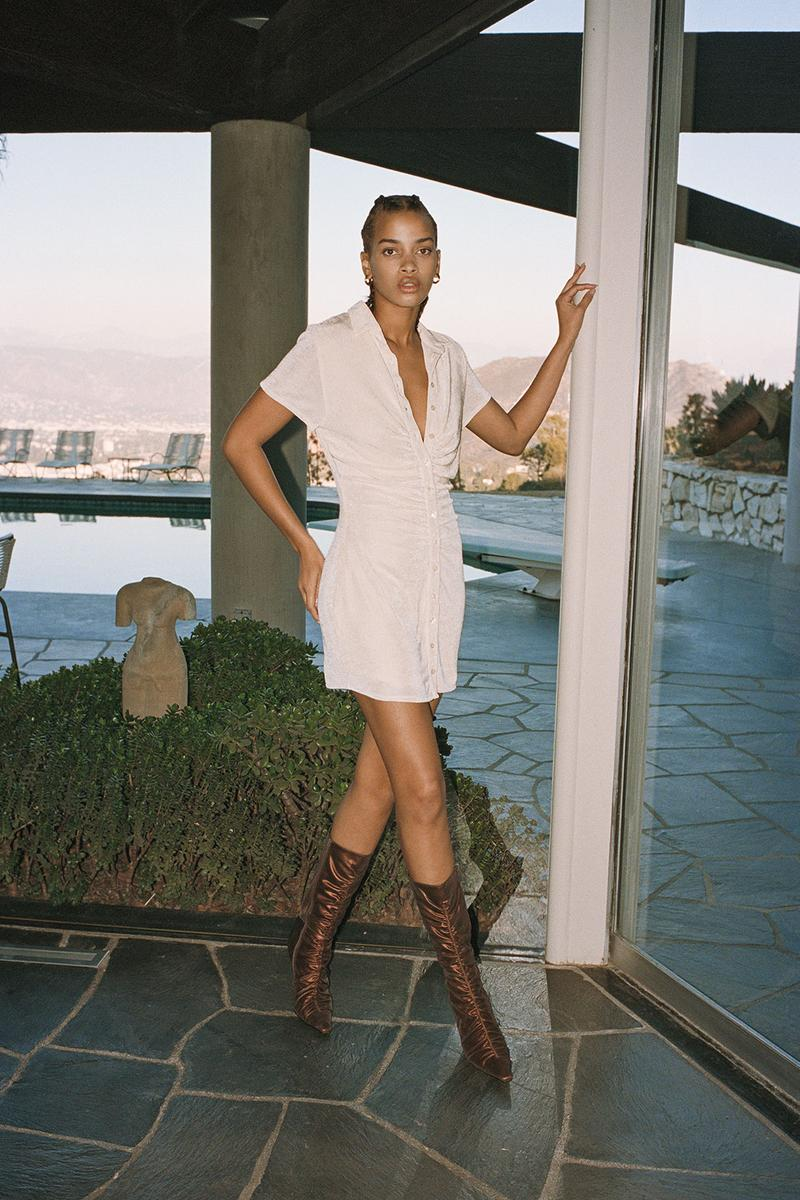 with jean stratosphere drop 2 spring summer lookbook andy dress beige button up boots brown