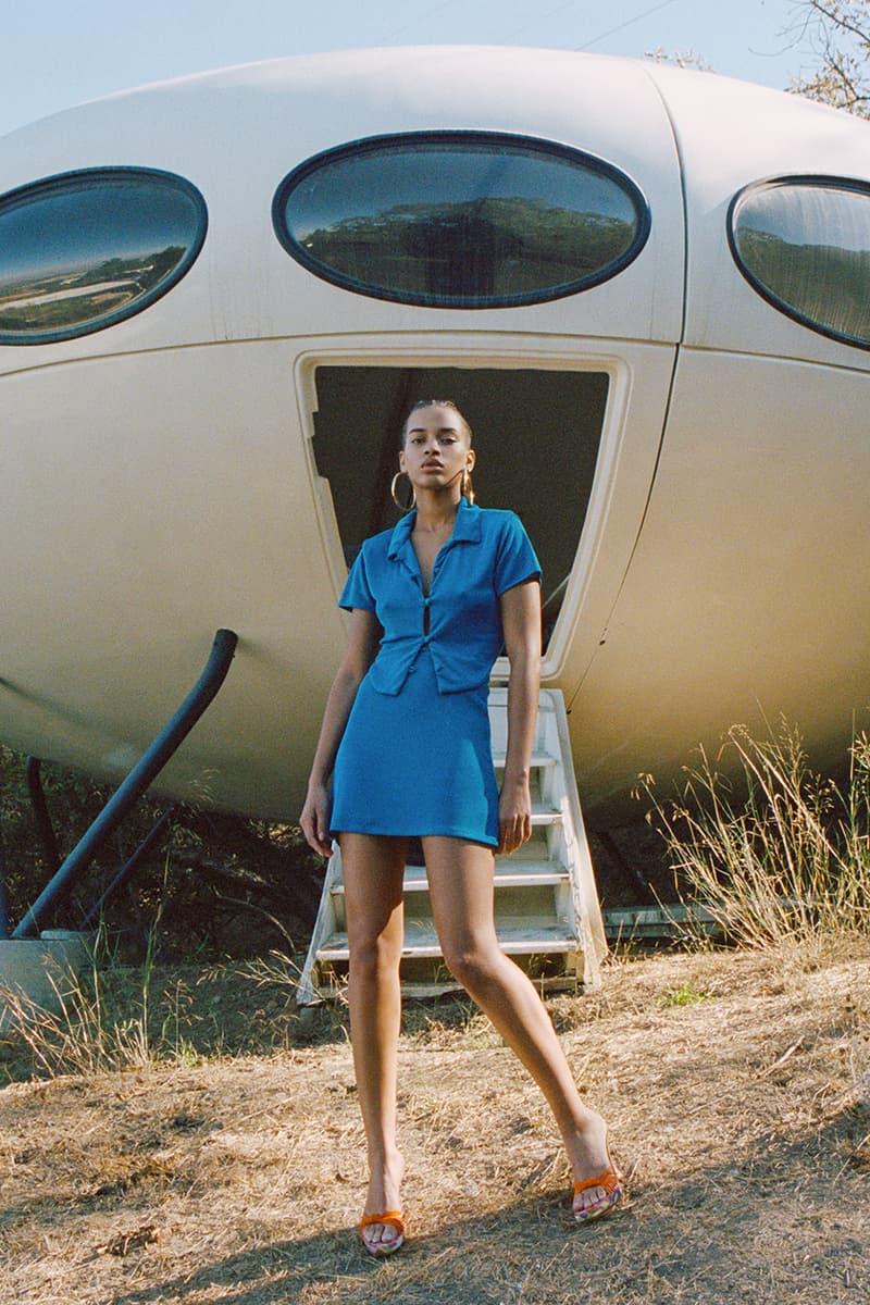 with jean stratosphere drop 2 spring summer lookbook blue top skirt set