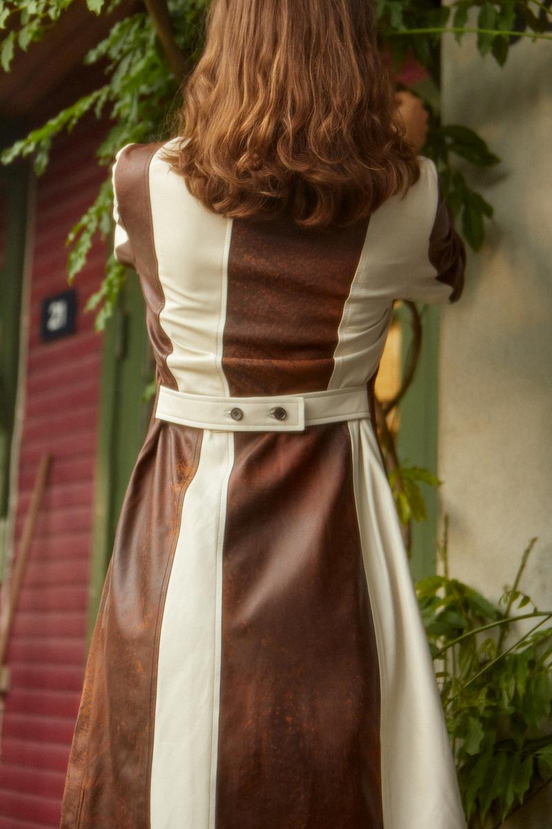 wood wood spring summer collection campaign dress brown white house grass leaves nature