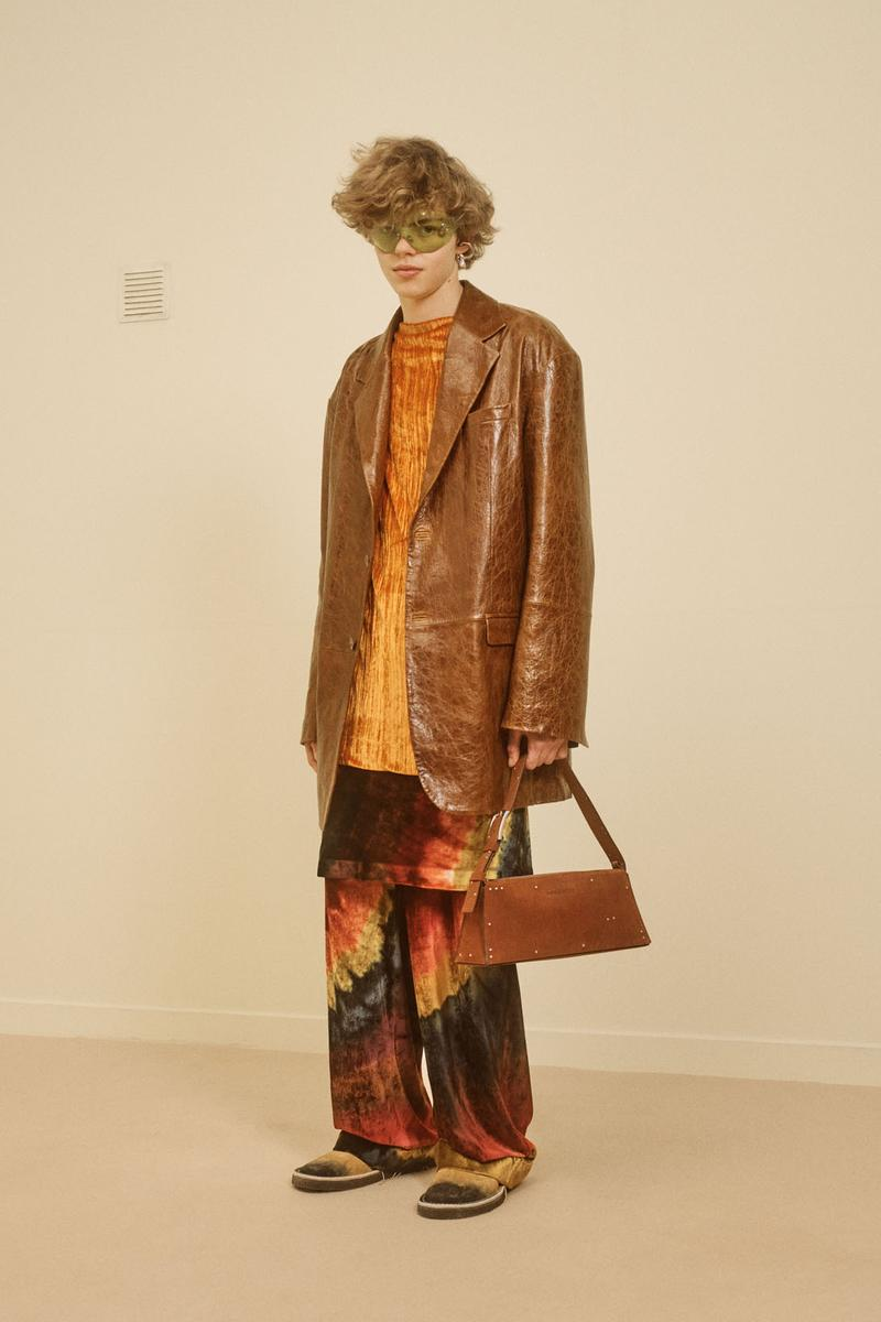 acne studios menswear fall winter 2021 fw21 collection lookbook leather coat jacket trousers print