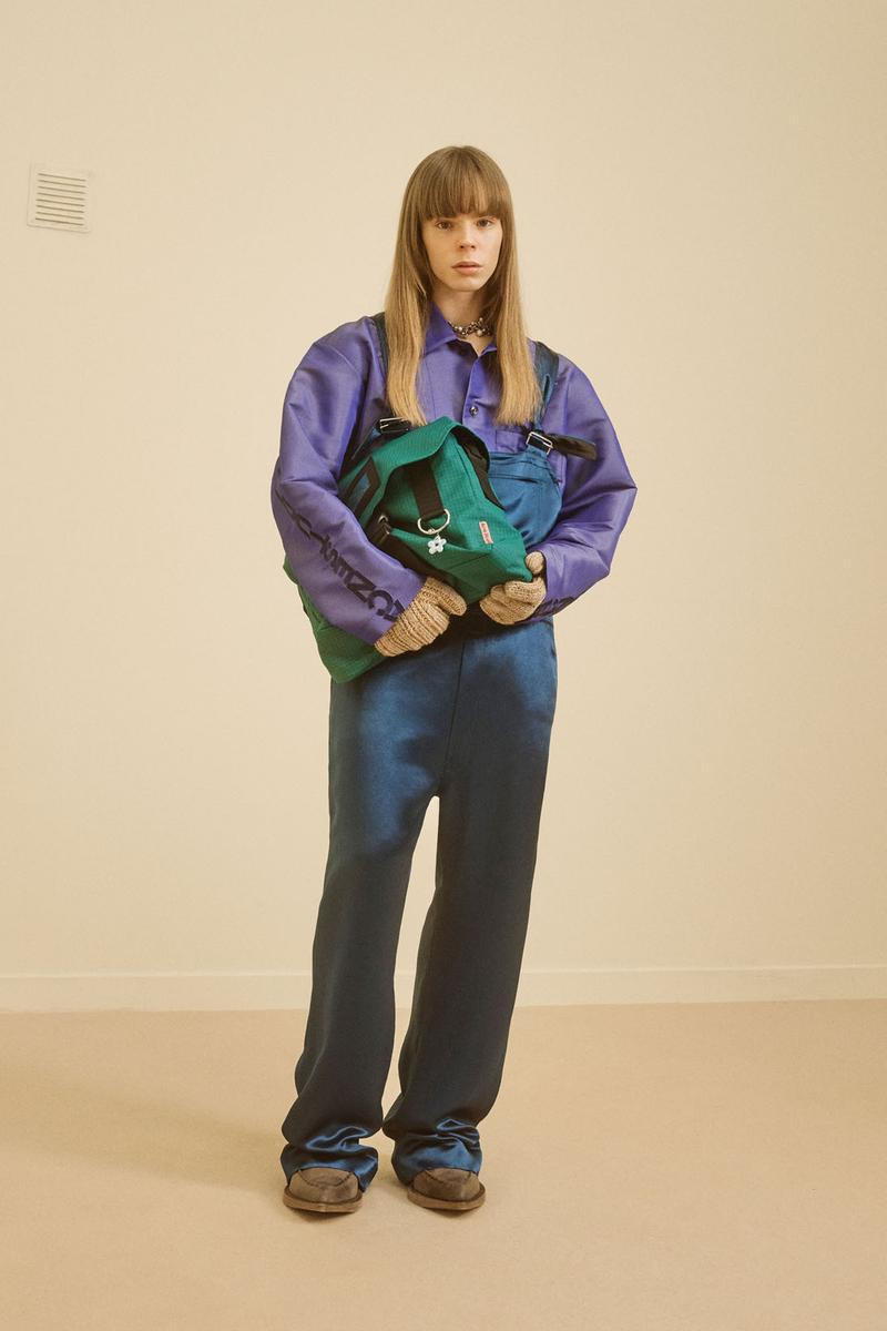 acne studios menswear fall winter 2021 fw21 collection lookbook purple jacket overalls knit gloves