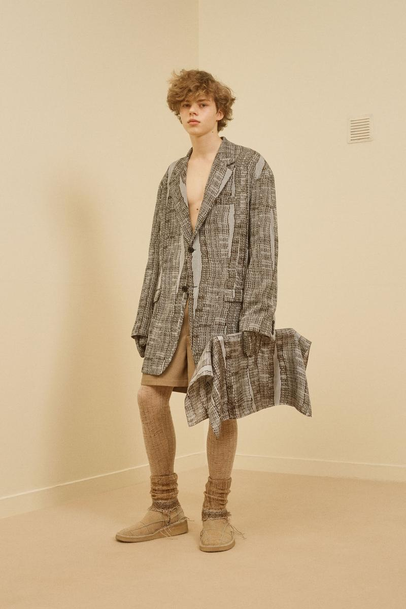 acne studios menswear fall winter 2021 fw21 collection lookbook tweed pattern jacket pouch