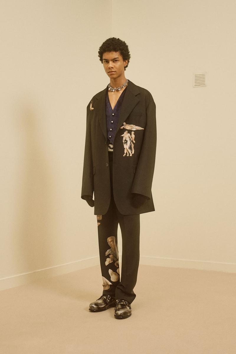 acne studios menswear fall winter 2021 fw21 collection lookbook print graphics suit jacket trousers