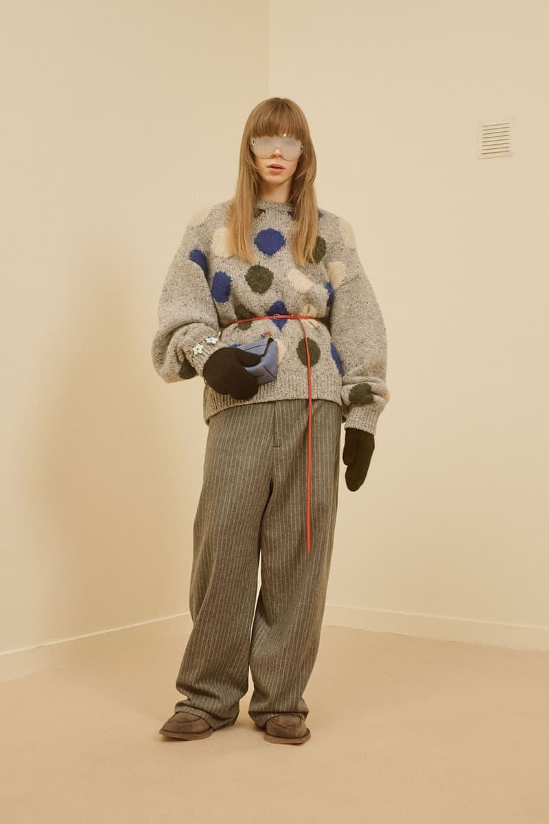 acne studios menswear fall winter 2021 fw21 collection lookbook polka dots sweater knitwear trousers