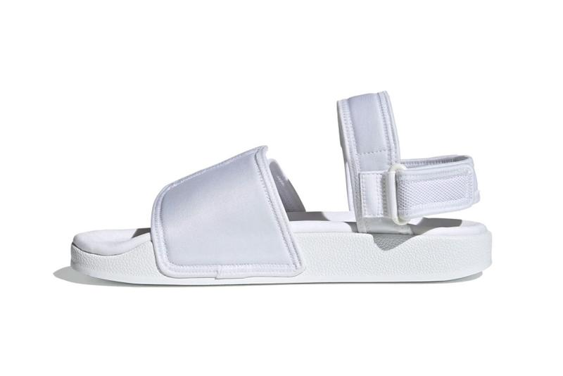 adidas originals adilette slide sandals velcro white colorway footwear lateral black