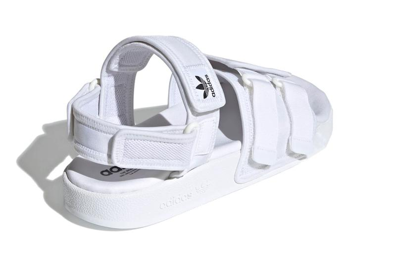 adidas originals adilette slide sandals velcro white colorway footwear heel back
