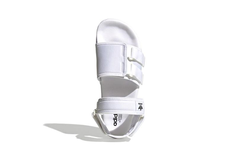 adidas originals adilette slide sandals velcro white colorway footwear aerial birds eye view black