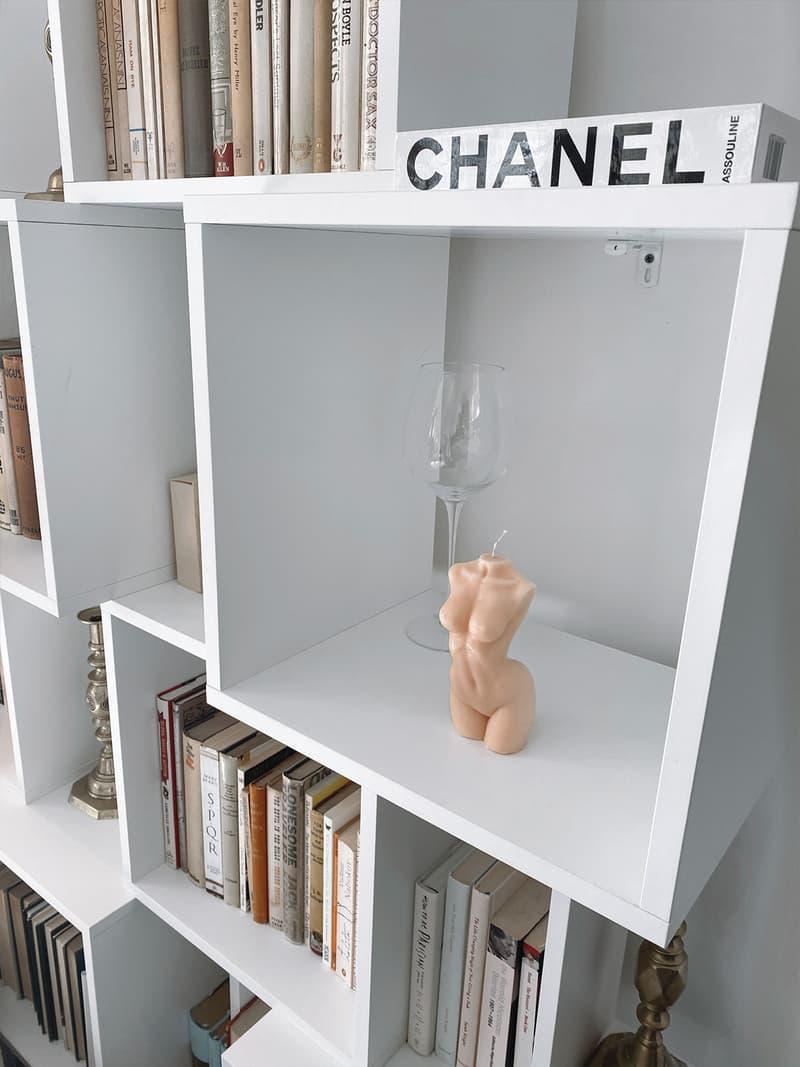 caia nude body torso candles pink home shelf books