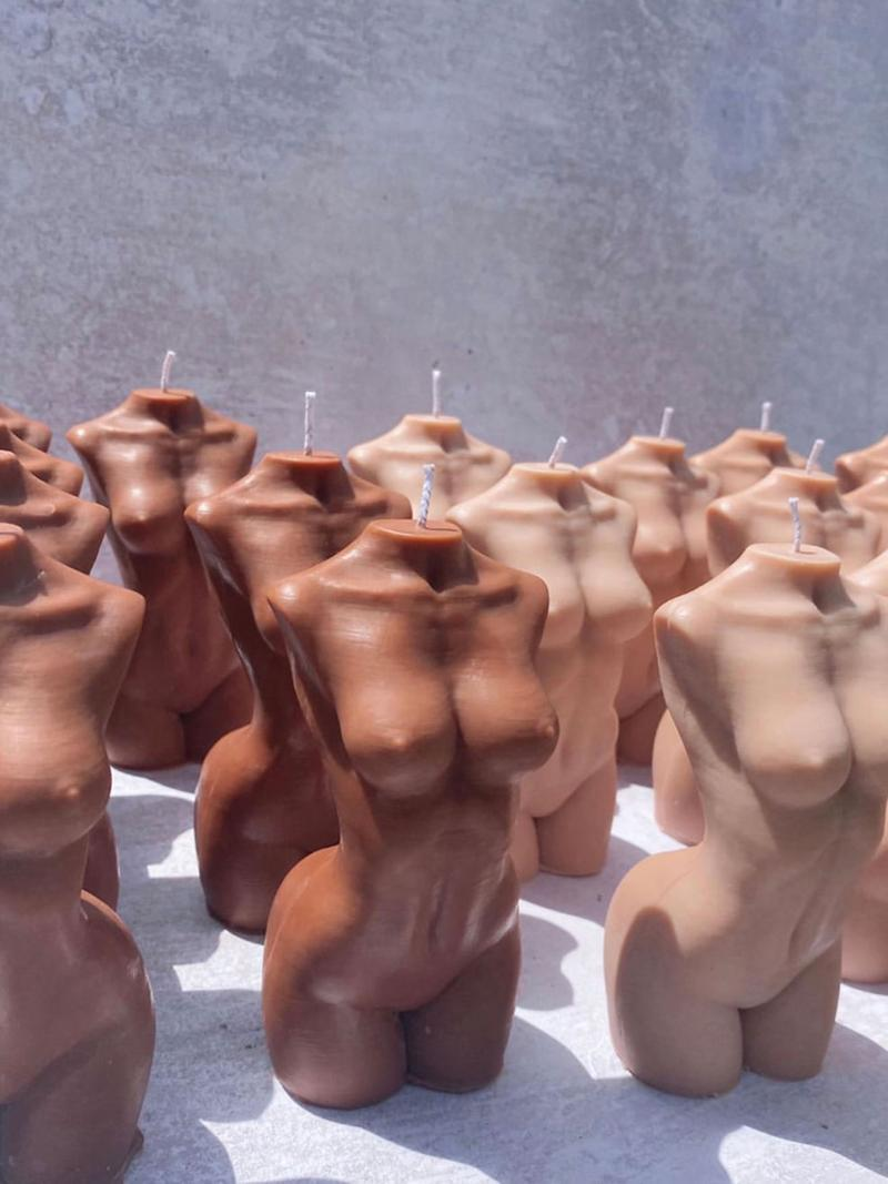 caia nude body torso candles pink brown