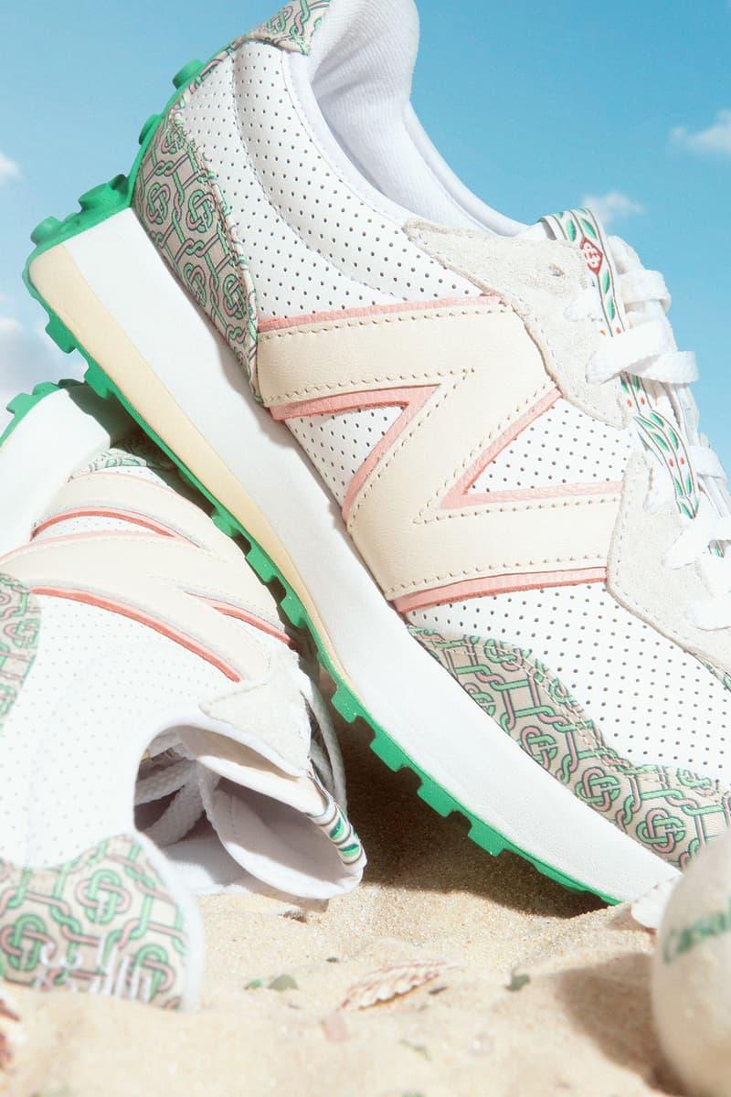 casablanca new balance sneakers collaboration nb 327 details close up sky
