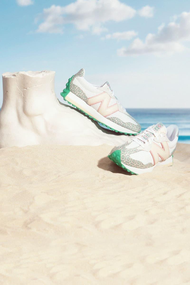 casablanca new balance sneakers collaboration nb 327 sand beach sky