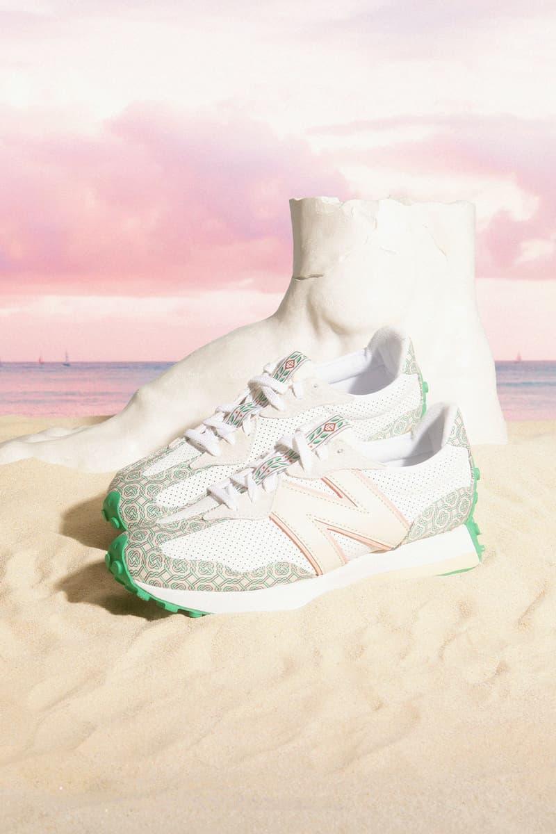 casablanca new balance sneakers collaboration nb 327 sand beach sky foot sculpture