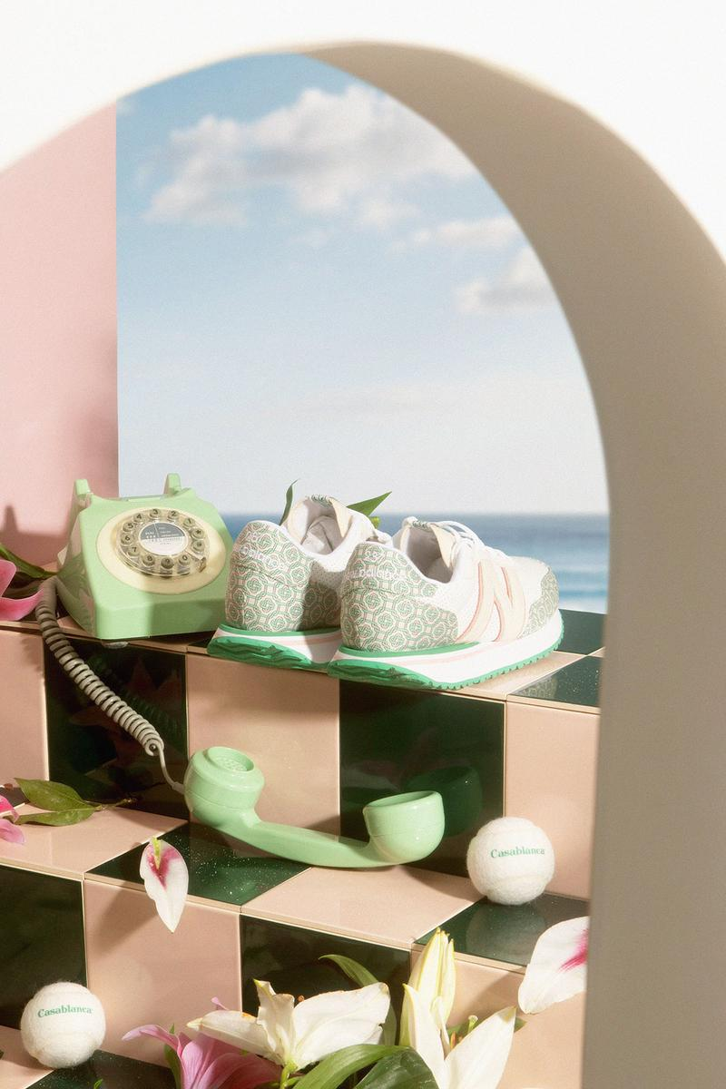casablanca new balance sneakers collaboration nb 237 heels back phone sky