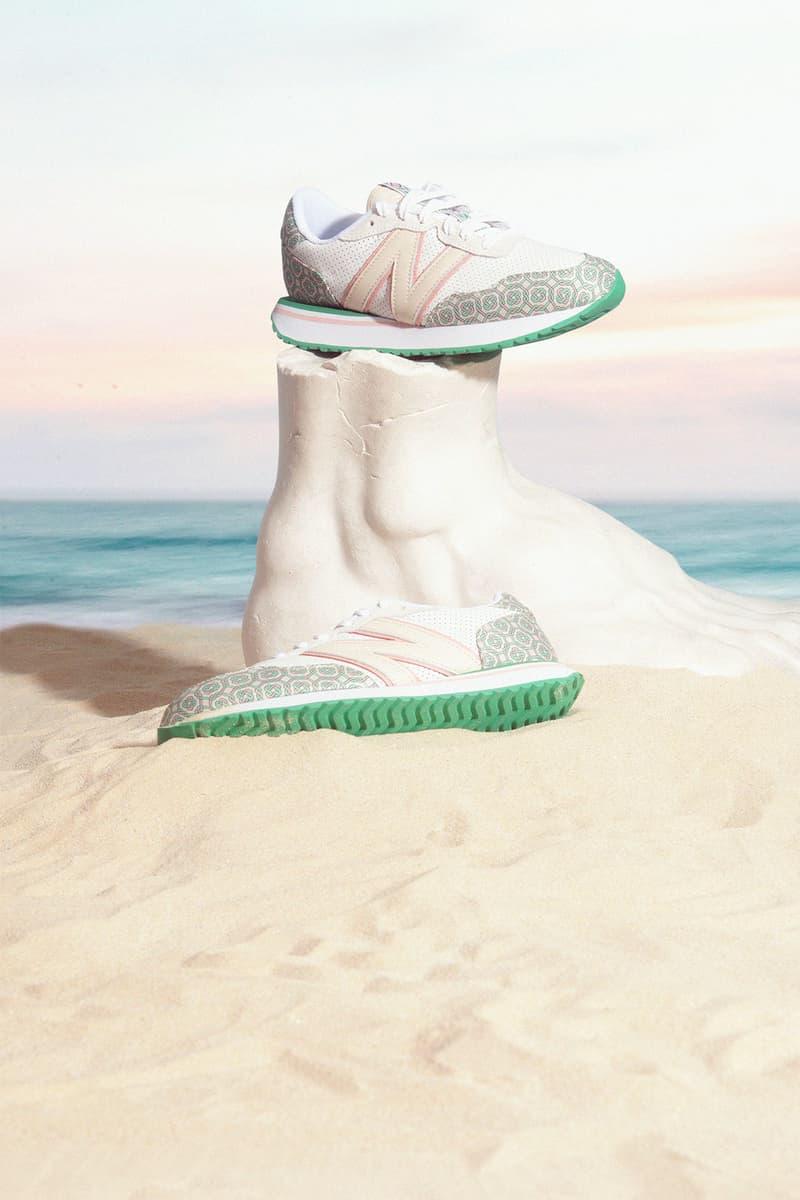casablanca new balance sneakers collaboration nb 237 foot sculpture sand beach