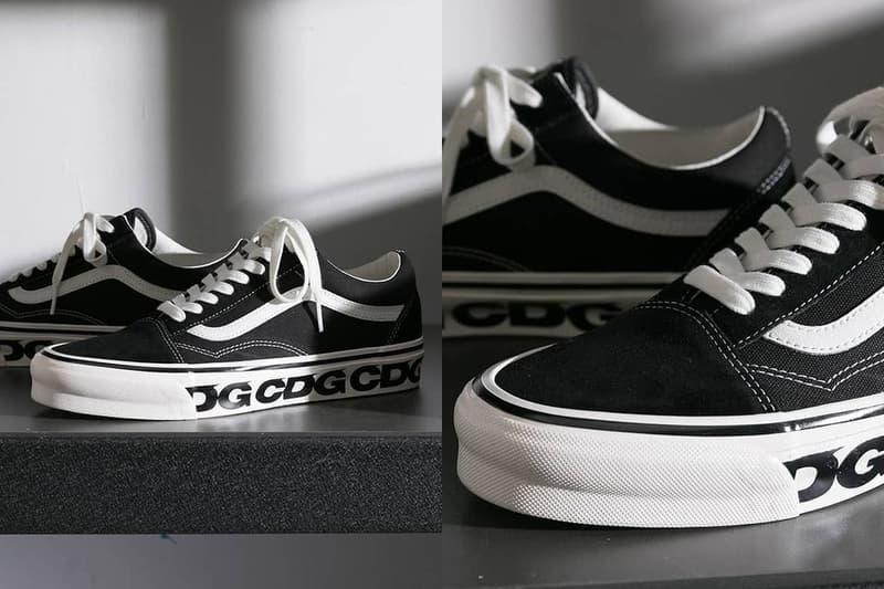 comme des garcons cdg vans old skool sneaker collaboration black white logo details laces