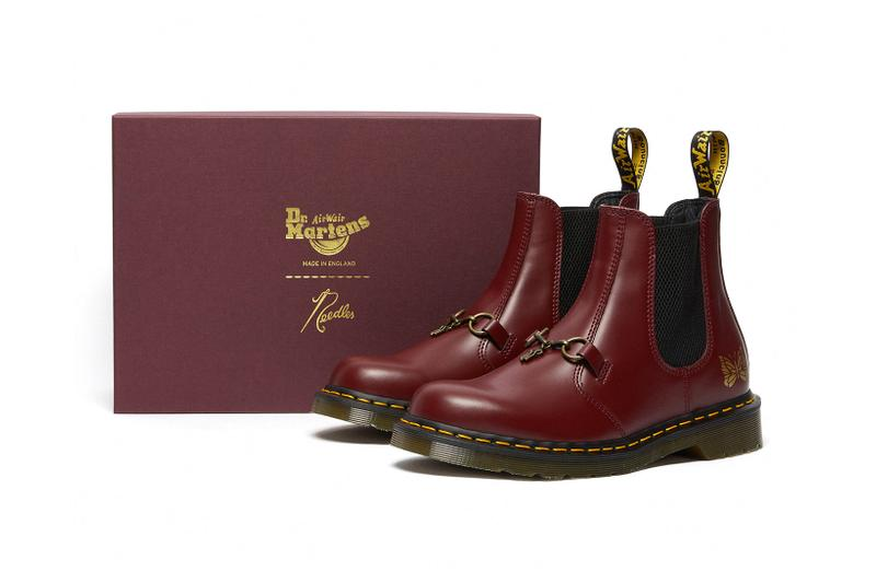 dr martens needles 2976 chelsea boot collaboration cherry red colorway box