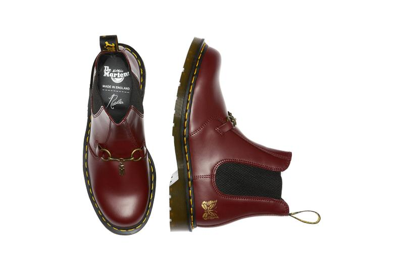 dr martens needles 2976 chelsea boot collaboration cherry red colorway aerial birds eye view insole lateral