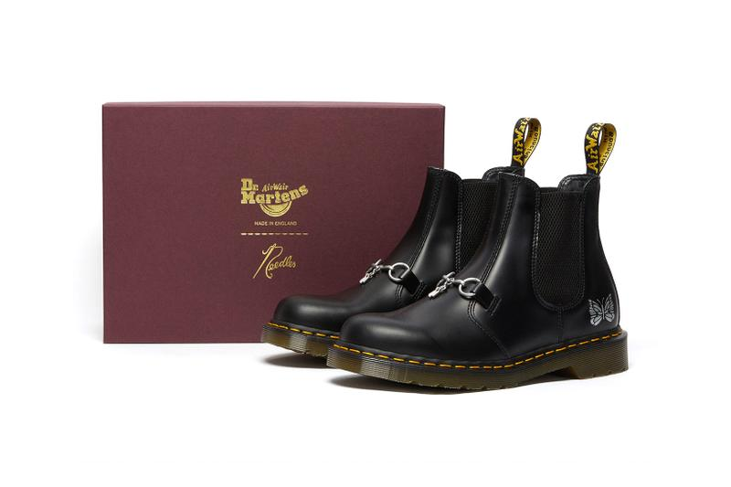 dr martens needles 2976 chelsea boot collaboration black colorway lateral box