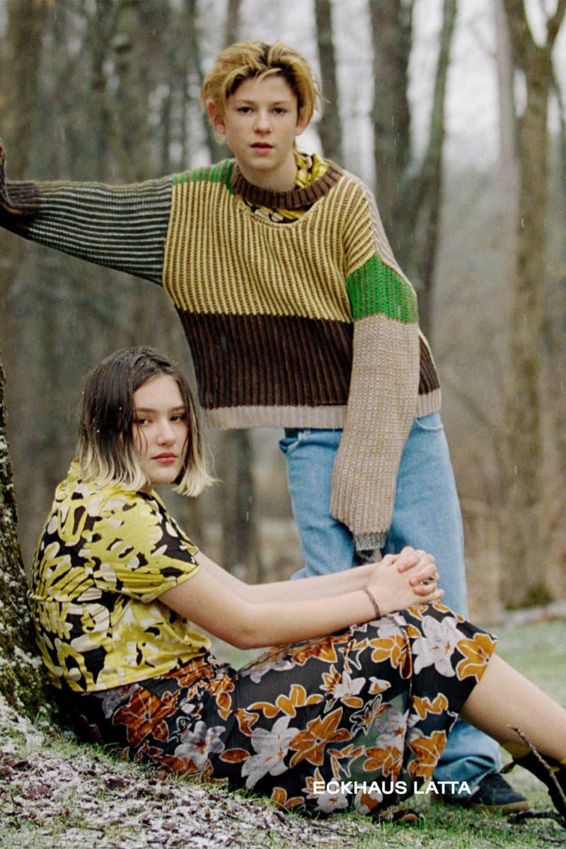 eckhaus latta spring summer campaign knitwear sweaters dresses shirt jeans