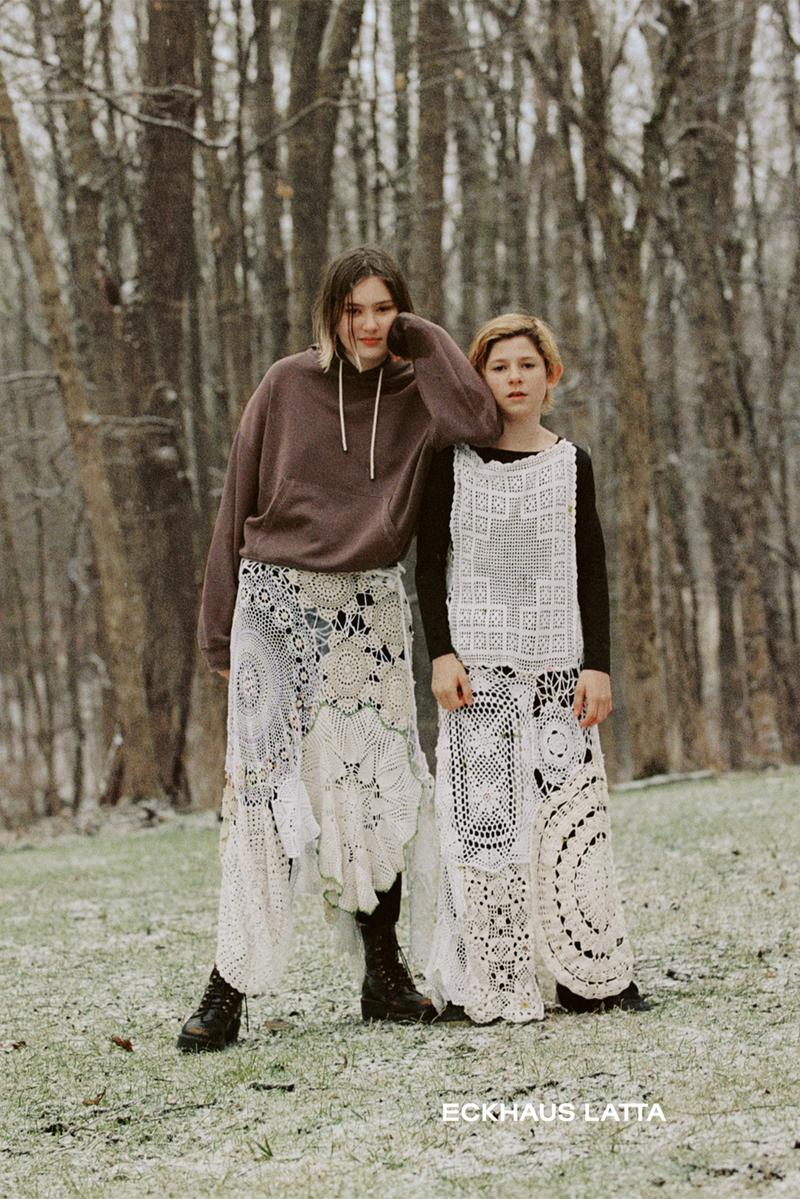 eckhaus latta spring summer campaign knitwear sweaters dresses brown white hoodie