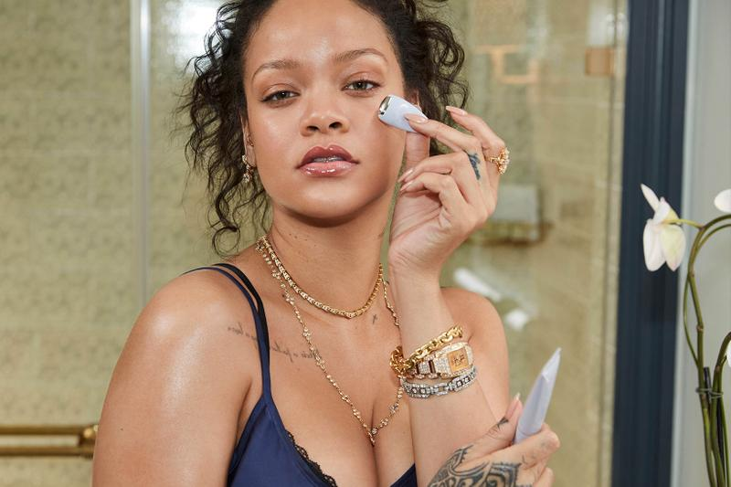 rihanna fenty skin flash snap instant revival eye gel cream jewelry bracelets watch skincare flower bathroom