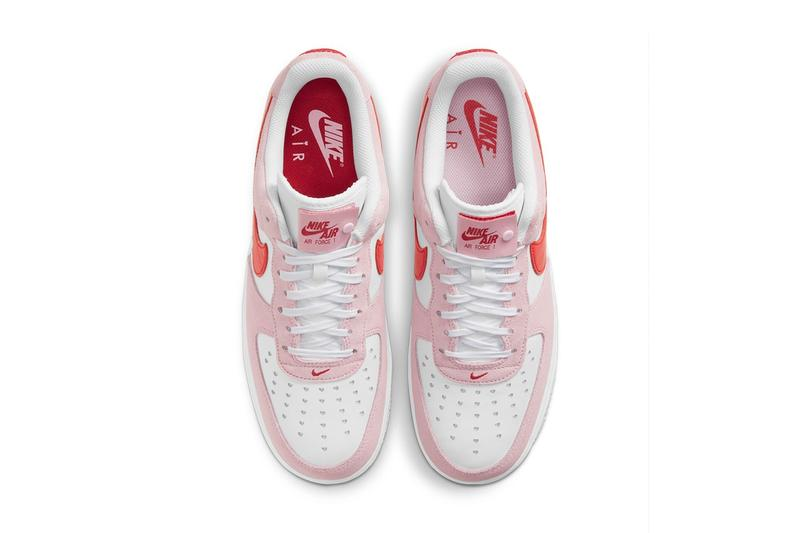 nike air force 1 af1 07 valentine's day pink red heart top view insoles toe box