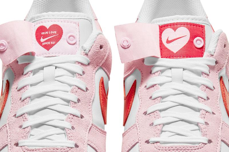 nike air force 1 af1 07 valentine's day pink red heart tongue details