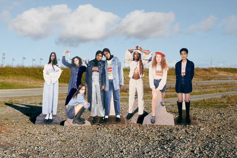 ganni levis denim jeans collaboration ss21 spring summer campaign group cut outs