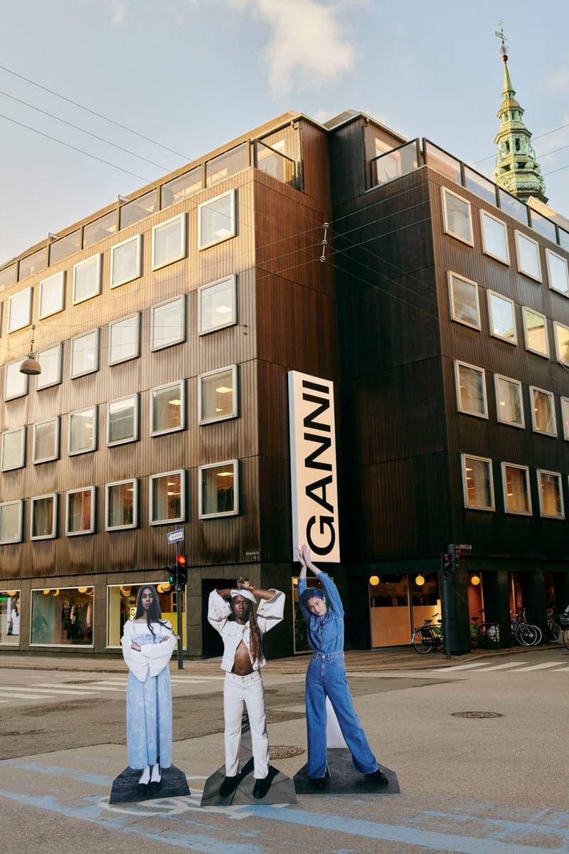 ganni levis denim jeans collaboration ss21 spring summer campaign dresses jackets street