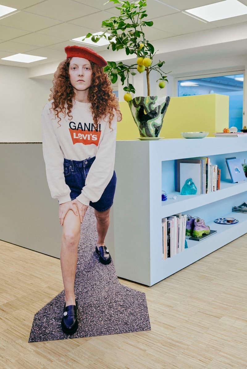 ganni levis denim jeans collaboration ss21 spring summer campaign sweatshirt shorts