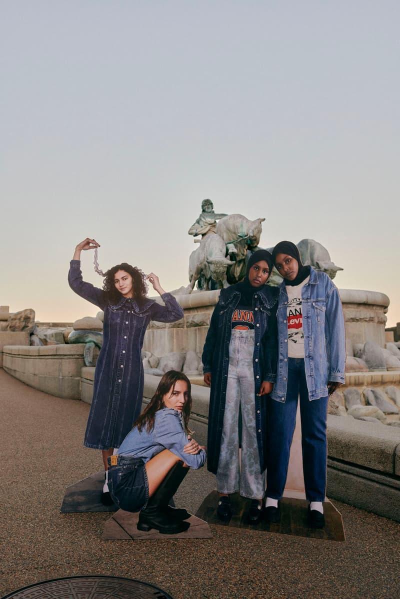 ganni levis denim jeans collaboration ss21 spring summer campaign cut outs dress jackets