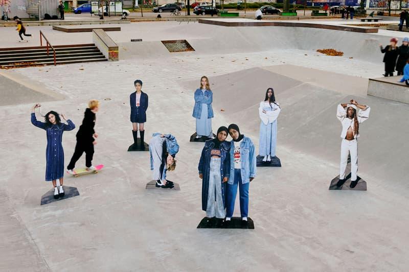 ganni levis denim jeans collaboration ss21 spring summer campaign group cut outs park skate