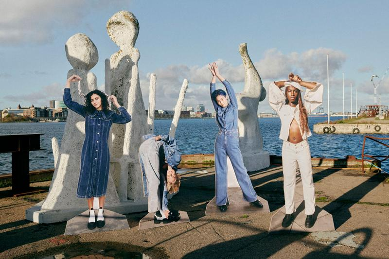 ganni levis denim jeans collaboration ss21 spring summer campaign group cut outs sea sky