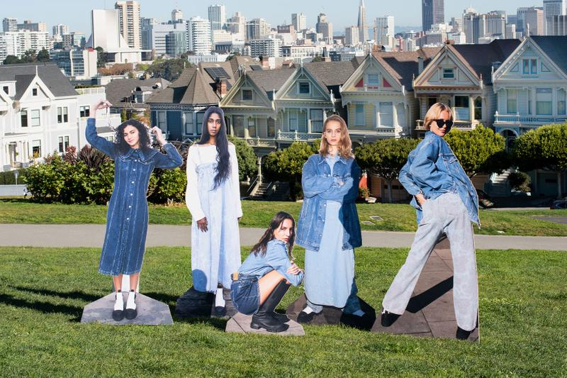ganni levis denim jeans collaboration ss21 spring summer campaign park grass houses
