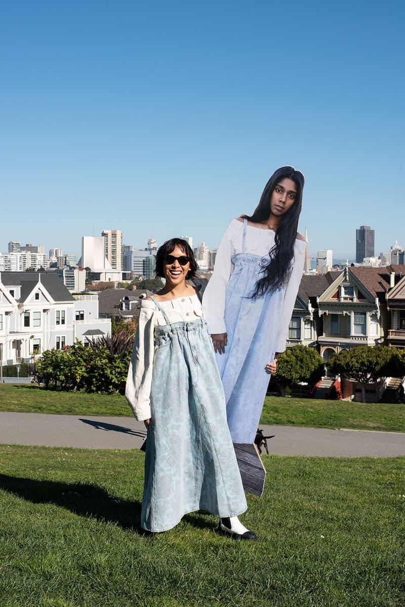 ganni levis denim jeans collaboration ss21 spring summer campaign sky grass cut outs dress
